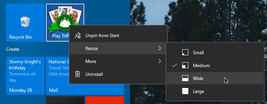 change start menu tile size windows 10