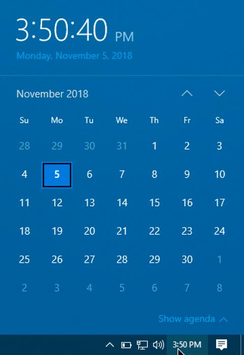 calendar taskbar view windows 10