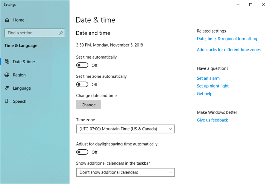 win10 date/time settings window panel control preferences
