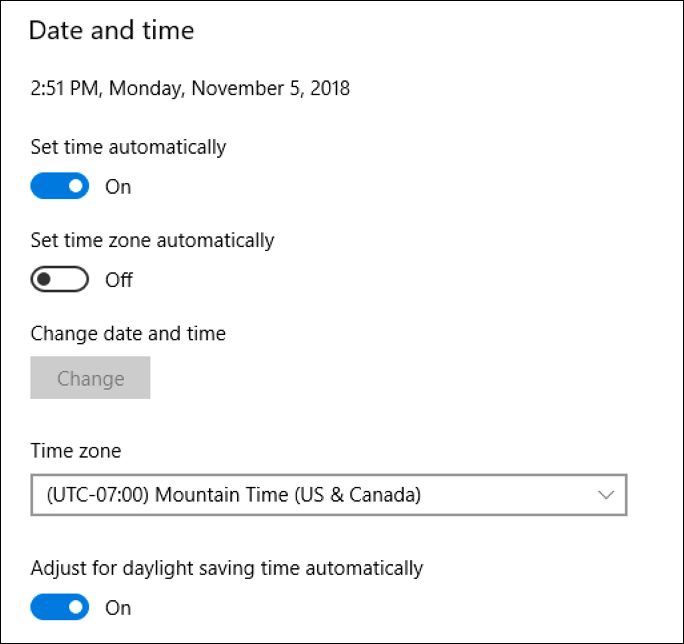 windows 10 automatic time and date setting, but manual time zone