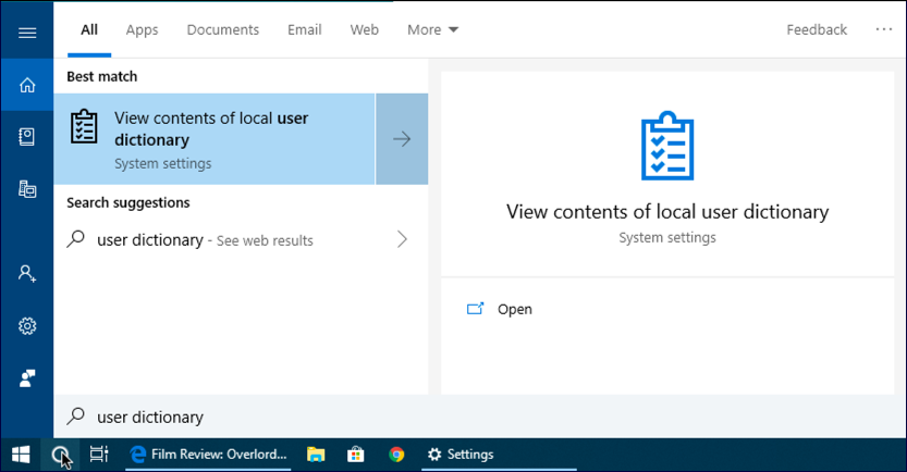 cortana win10 search 'user dictionary'