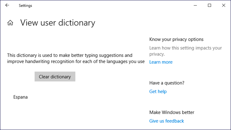 win10 user dictionary