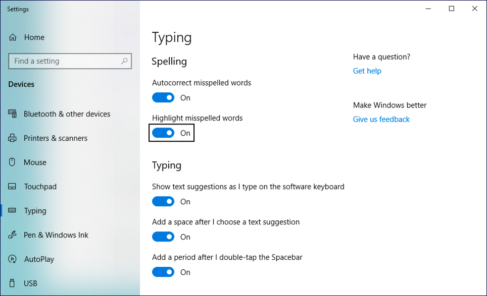 win10 spelling settings configuration