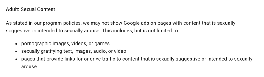 details of adsense policy violation