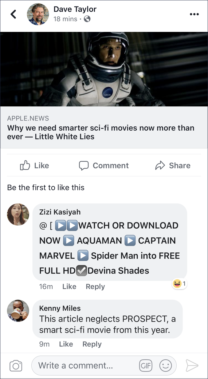 delete facebook comment spammy movie