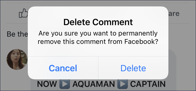 sure you want to delete facebook comment?