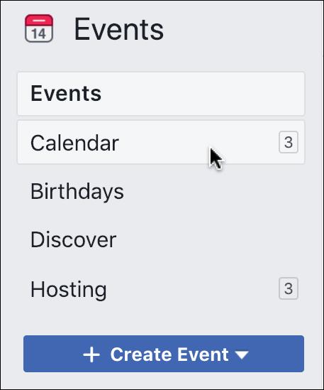 facebook events > calendar