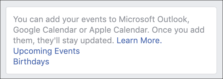 subscribe facebook calendar links