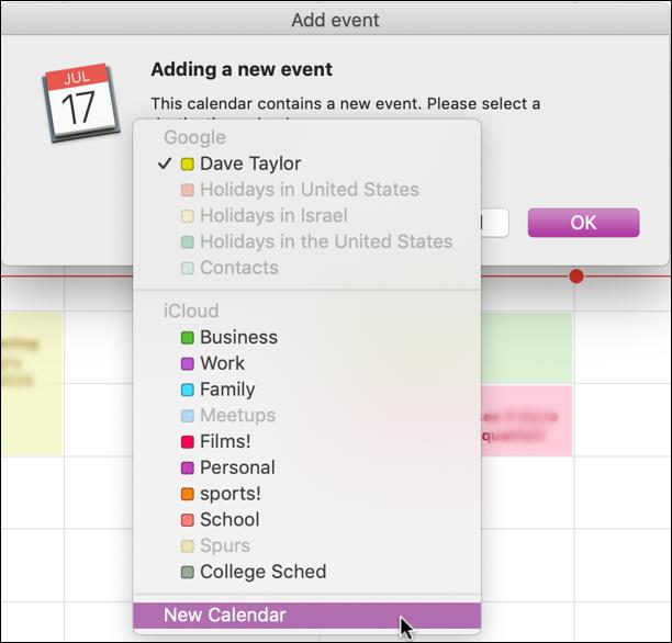 create new calendar, ical macos x calendar