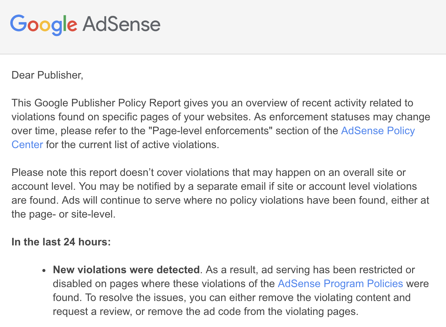 adsense policy violation email