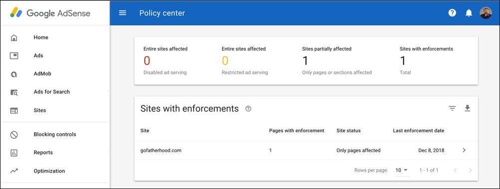 google adsense policy center