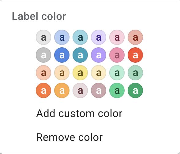 gmail label color