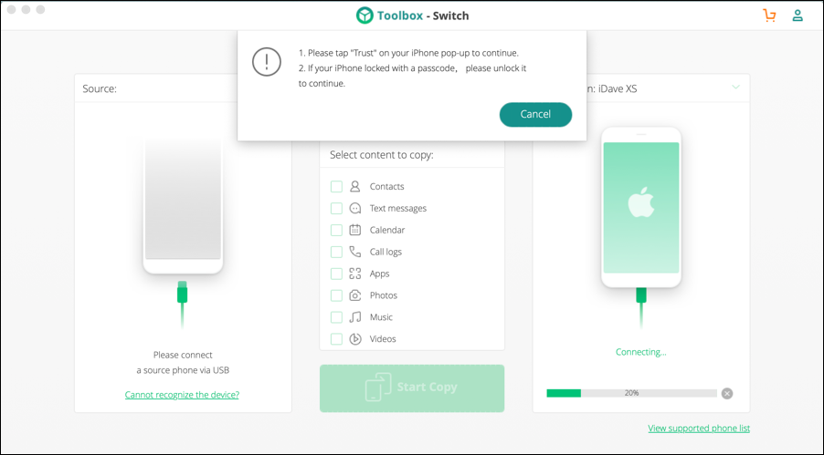 iskysoft toolbox - switch - main screen