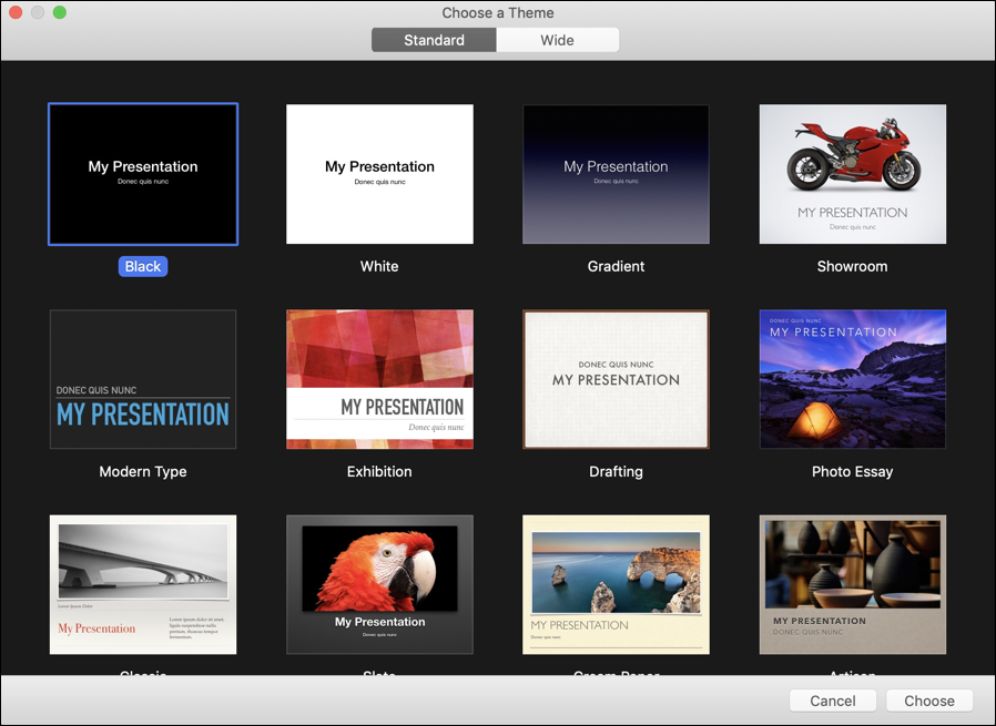 apple keynote choose a theme presentation