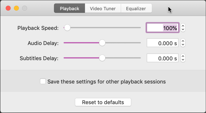 elmedia player - playback speed