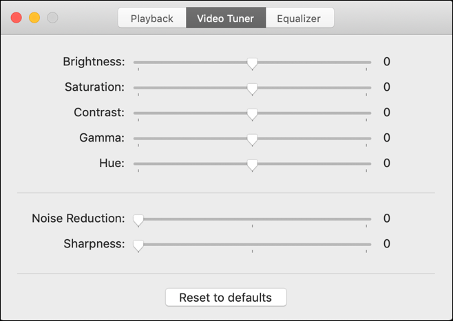 elmedia player - video tuner settings