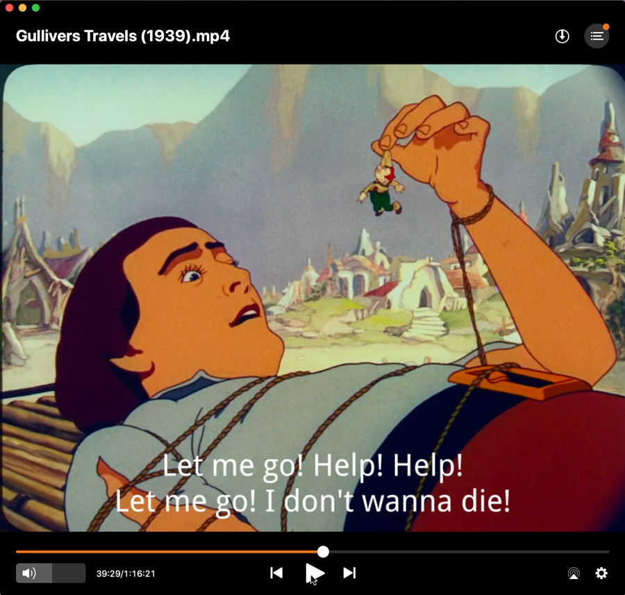 elmedia player - gulliver's travels 1939 - with subtitles