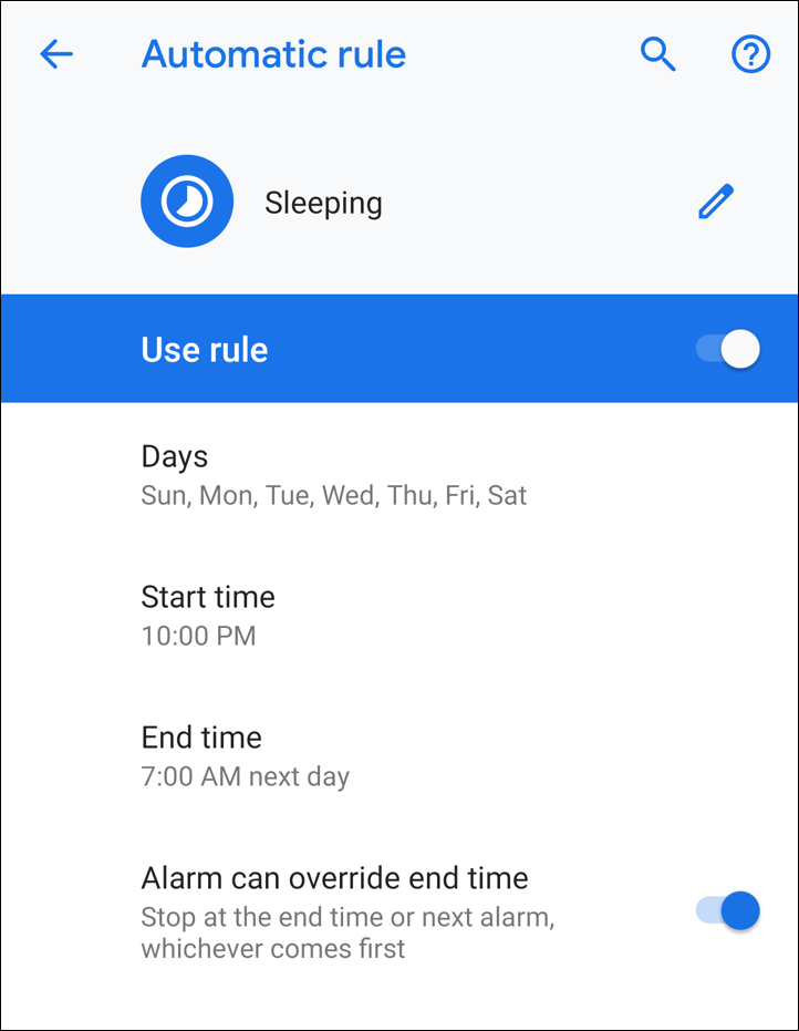 android - do not disturb - sleeping