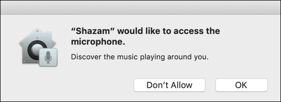 shazam app permission microphone