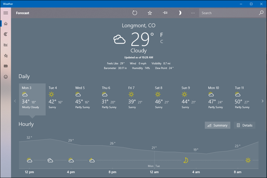 longmont weather forecast, windows win10