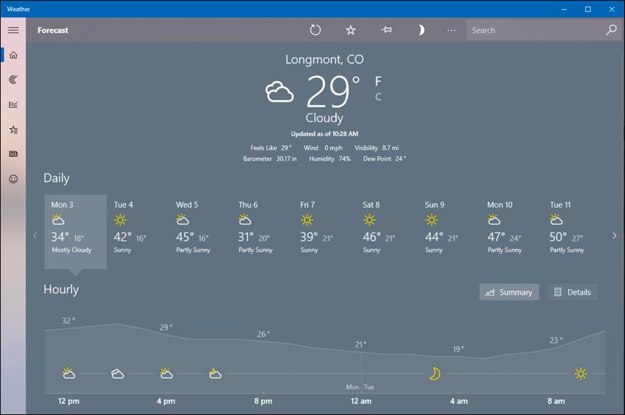 longmont weather forecast, windows win10