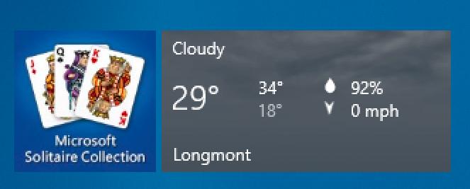 longmont weather, windows win10 start tile