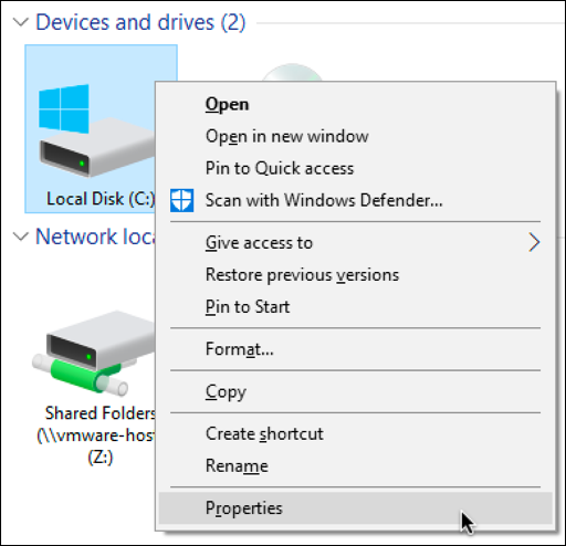 file manager browser windows right-click menu properties