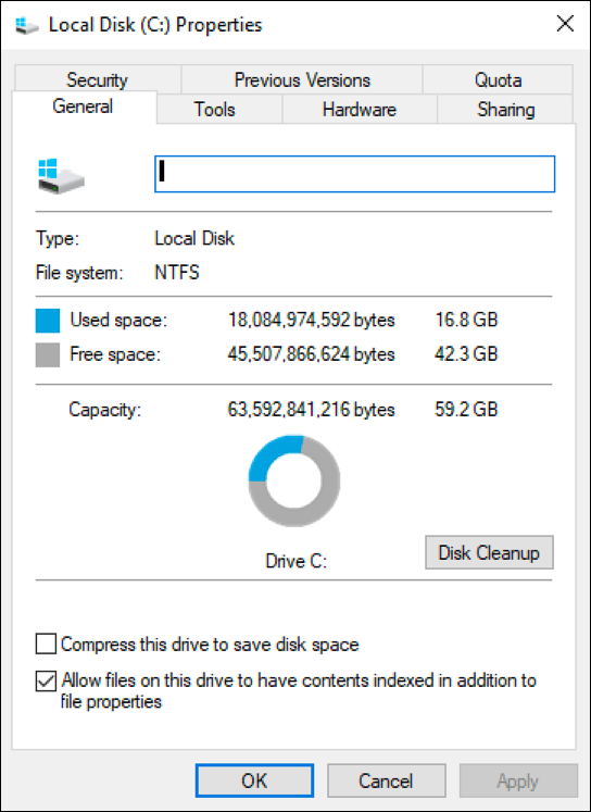windows win10 hard drive properties space