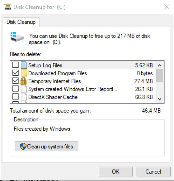 disk cleanup windows win10