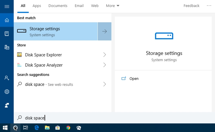 win10 start menu search: disk space