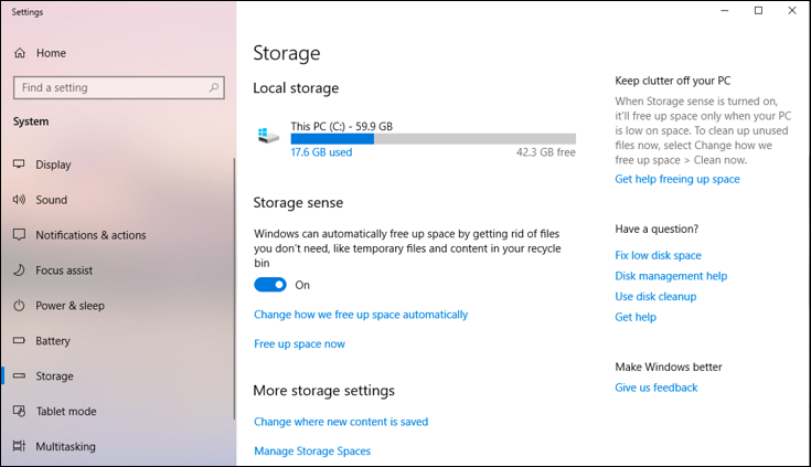 microsoft windows 10 - disk space used