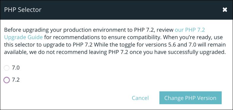 upgrade php 7.2 wpengine wordpress