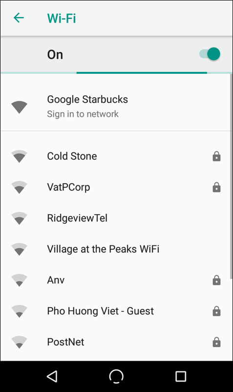 list of available wifi networks, android 8 oreo