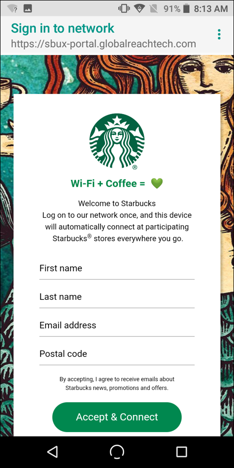 sign in to google starbucks wifi network