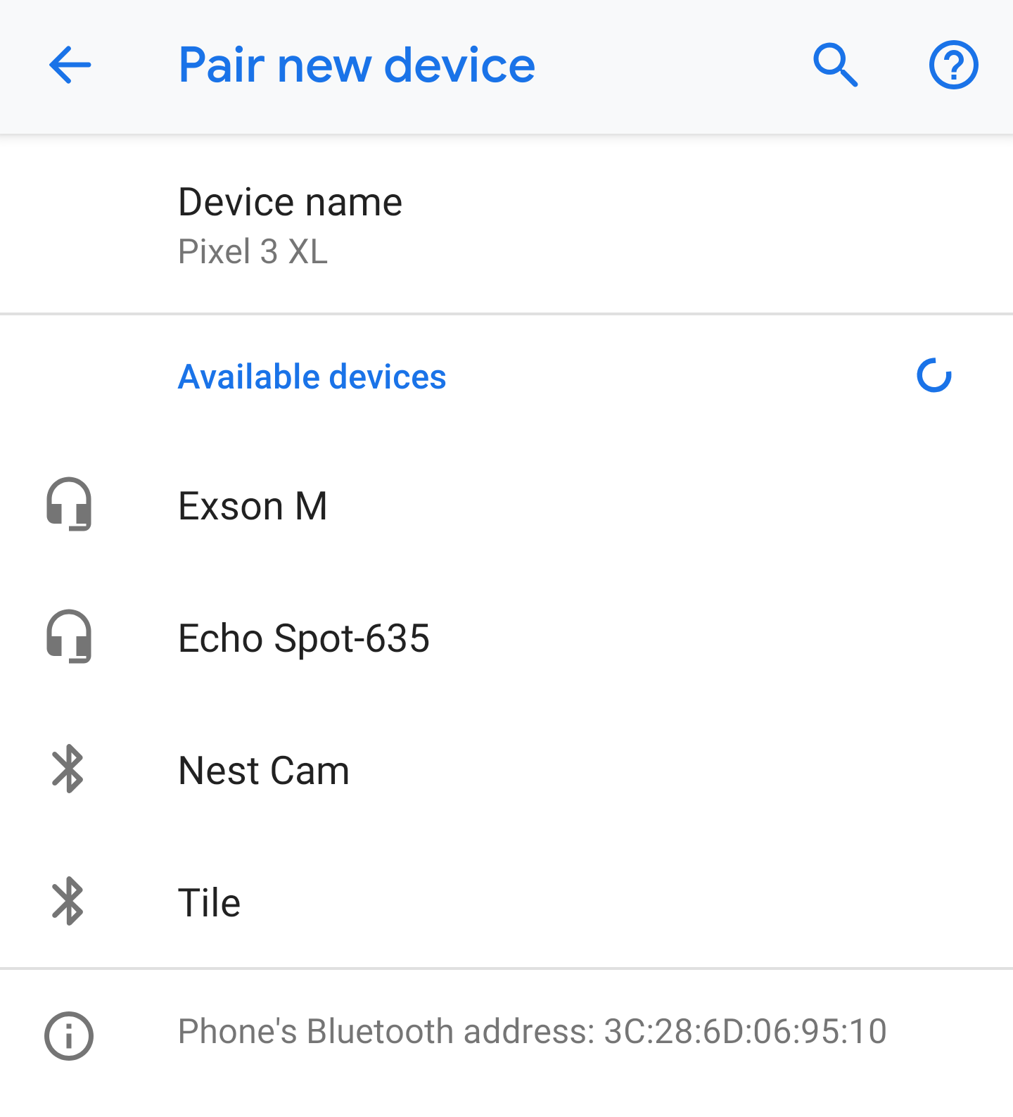 android - pair bluetooth - available devices