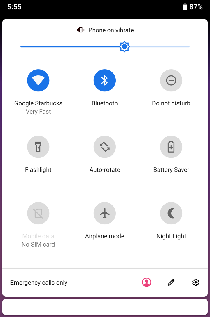 android pie pull down quick access menu