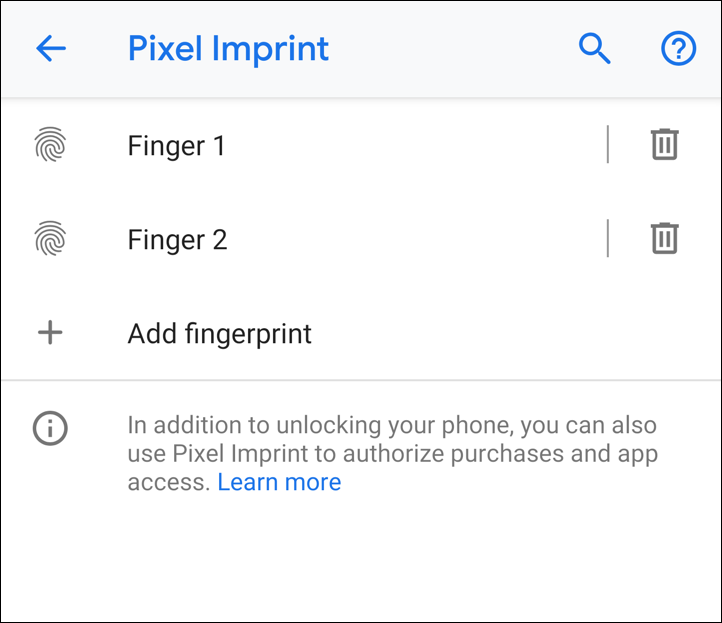 two fingerprints added - pixel imprint