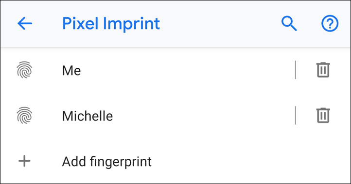 named fingerprint scans - android pixel 3