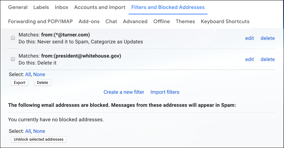 gmail filters - delete email from sender