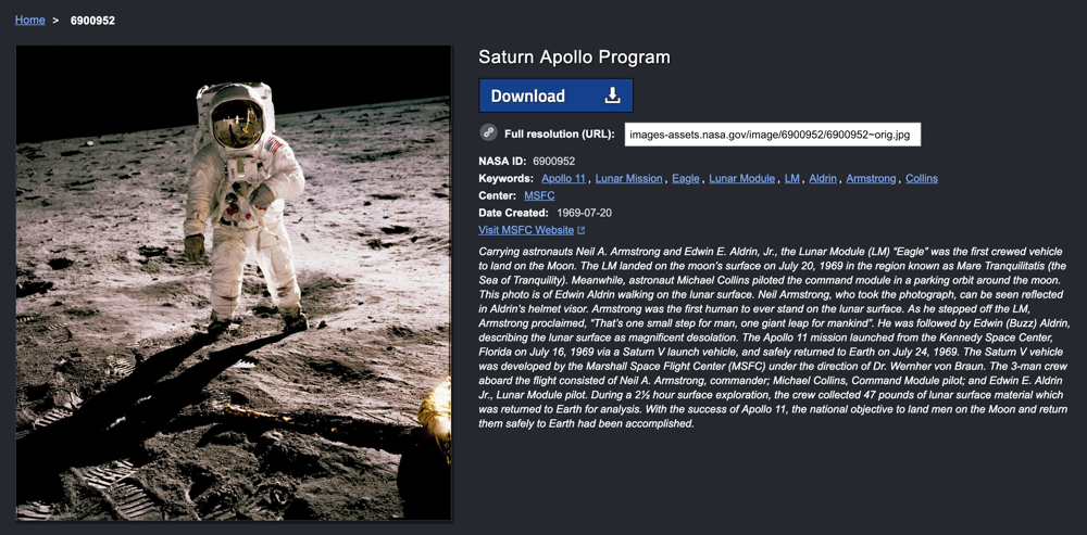 buzz aldrin on the moon, nasa photo archive