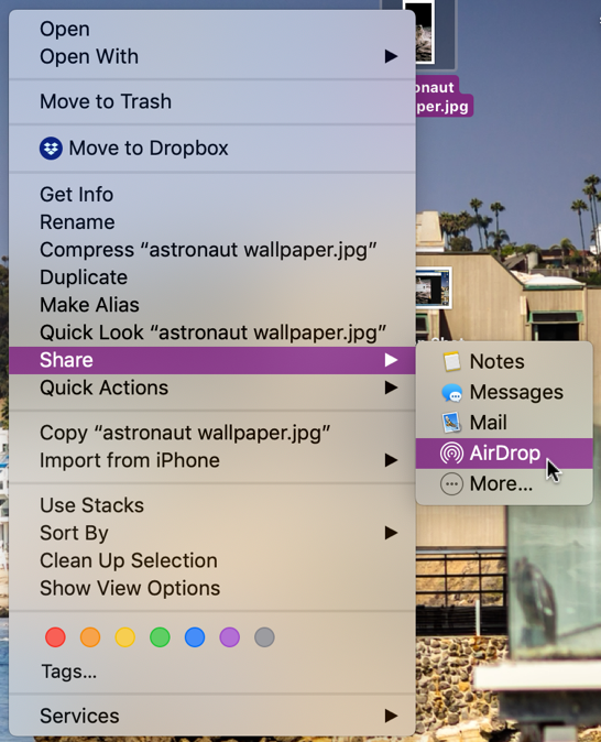 share a file with airdrop from mac macos x