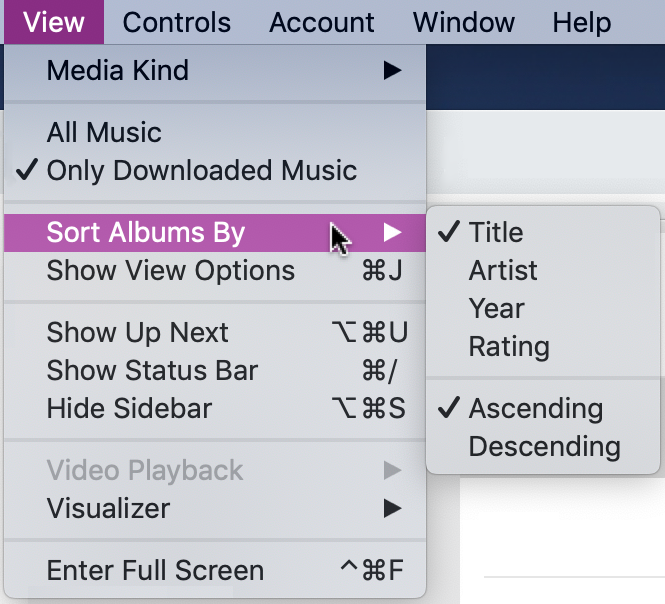itunes > View > Sort Albums By