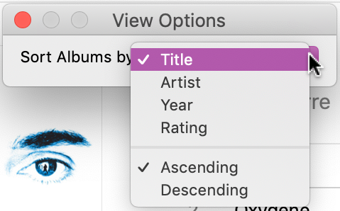 itunes view options window