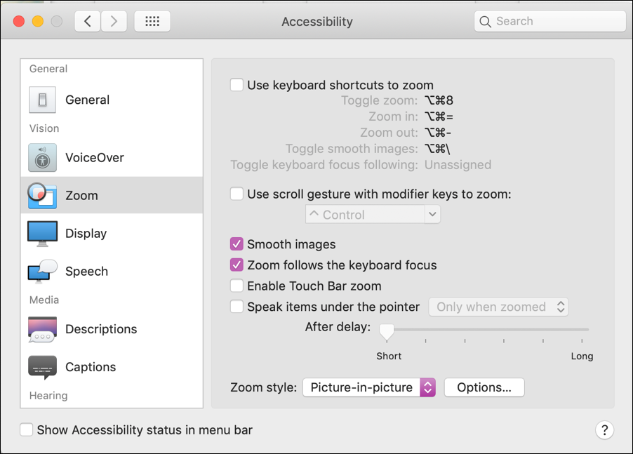 mac > system preferences > accessibility