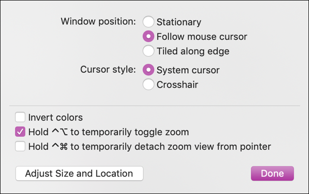 mac accessibility > zoom > options