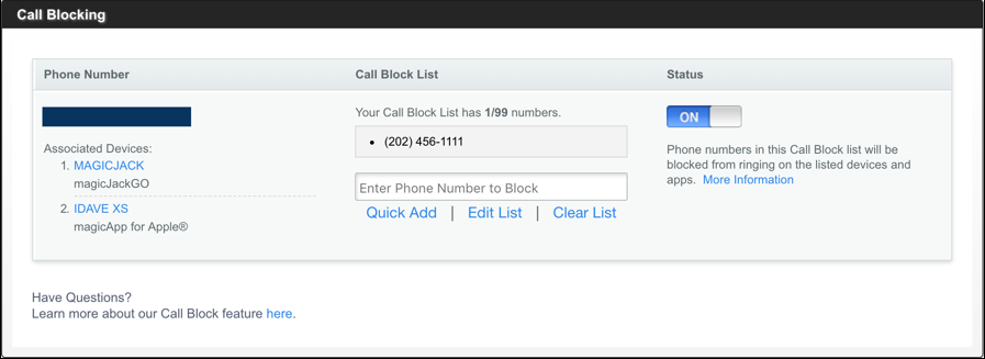 magicjack call blocking
