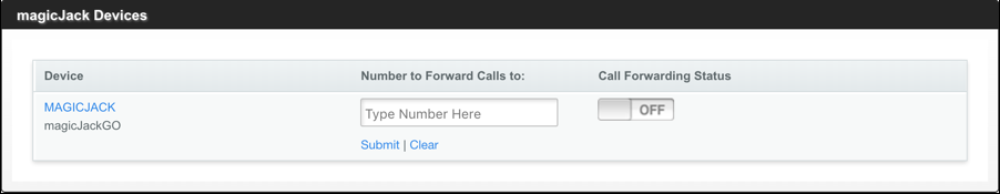 magicjack call forwarding