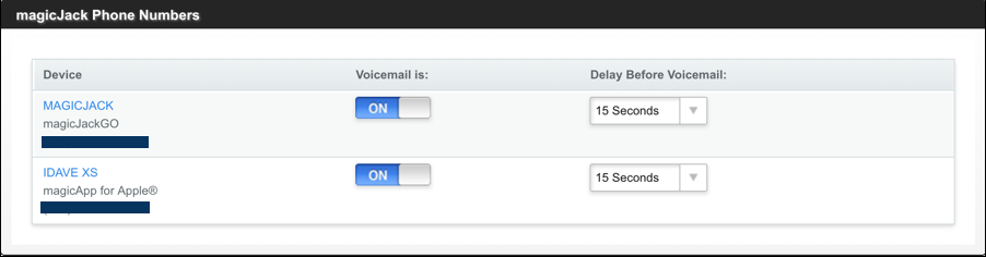 magicjack voicemail on off delay timing answer