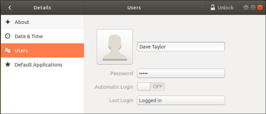 ubuntu linux generic profile info account