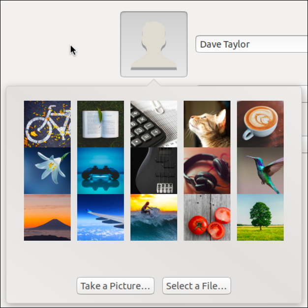 ubuntu linux choose profile picture photo image account